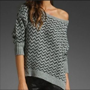 Joie Wool Grey Zig Zag Sweater S